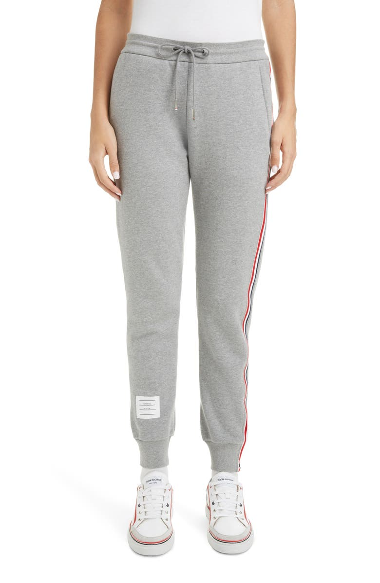 THOM BROWNE Side Stripe Joggers, Main, color, LIGHT GREY