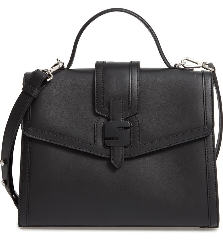 SERAPIAN MILANO Medium 1972 Top Handle Leather Satchel, Main, color, BLACK