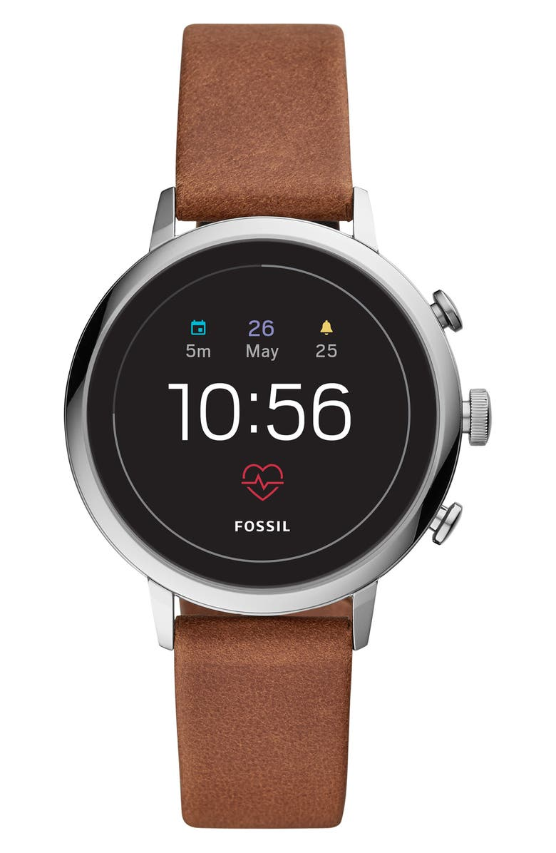 FOSSIL Q Venture HR Gen 4 Leather Strap Smart Watch, 40mm, Main, color, 200
