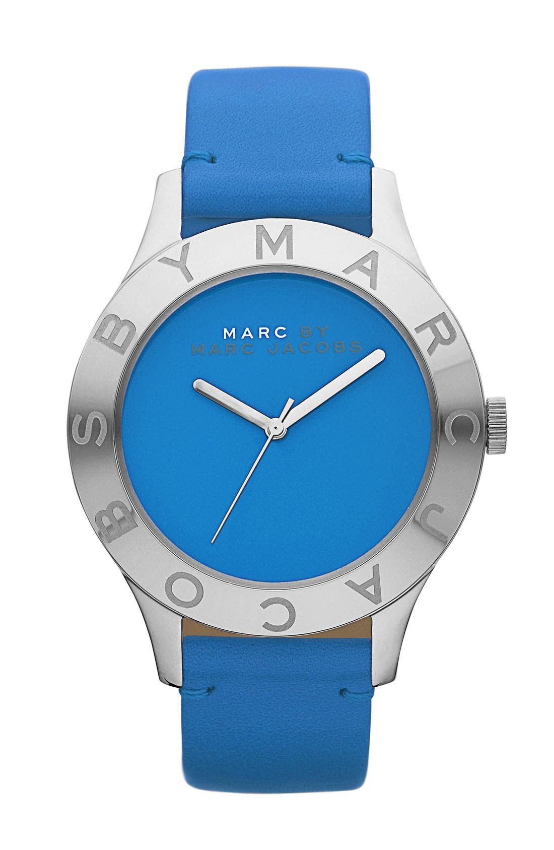 ,                             'Blade' Round Leather Strap Watch,                             Main thumbnail 7, color,                             400