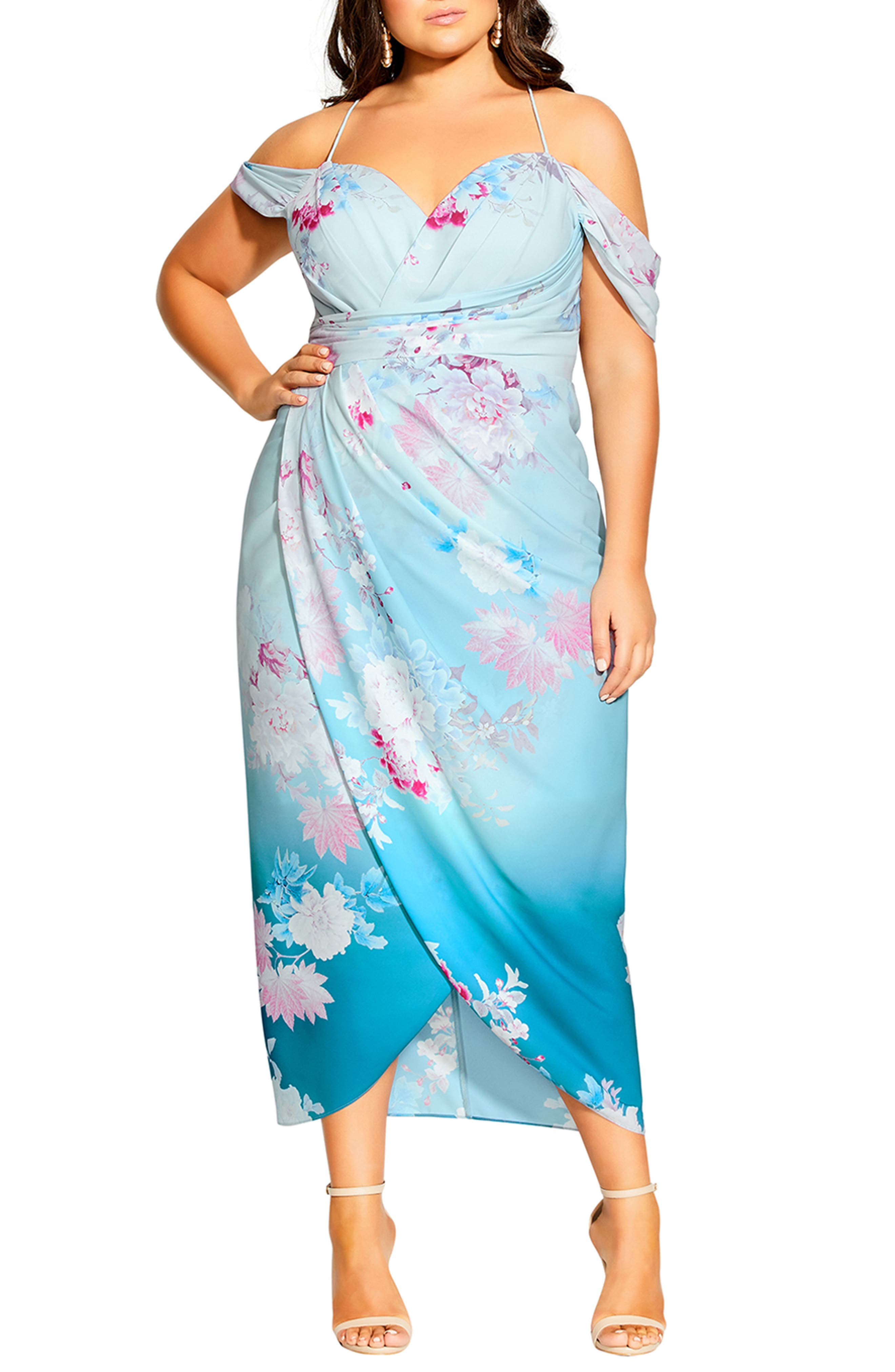 Tsubaki Twine Floral Cold Shoulder Dress