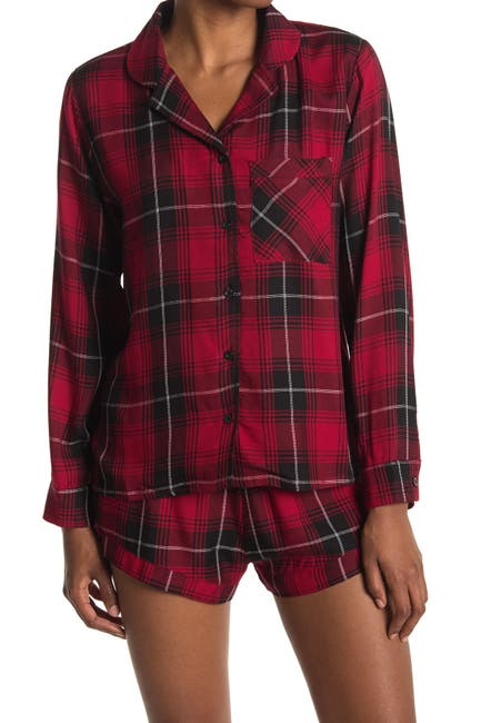 Image of ROW A Plaid Button-up Lounge Top