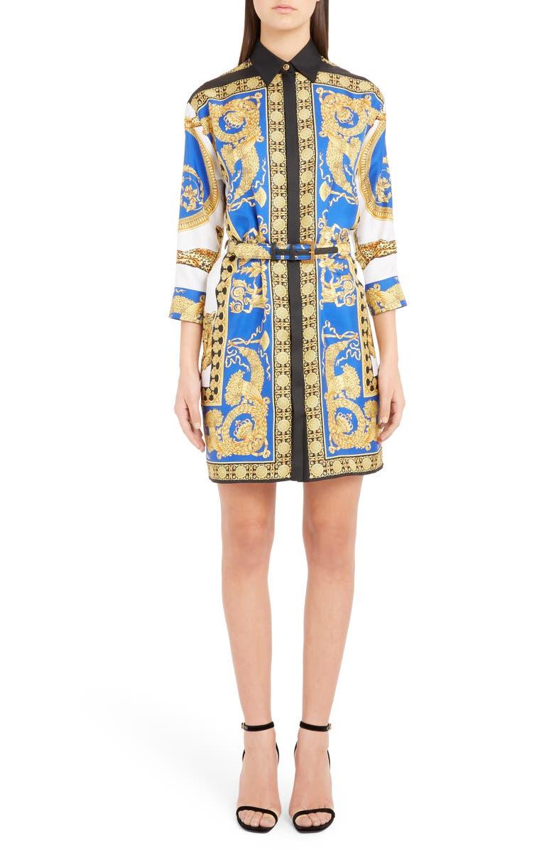 VERSACE Baroque Leopard Print Belted Silk Shirtdress, Main, color, 718