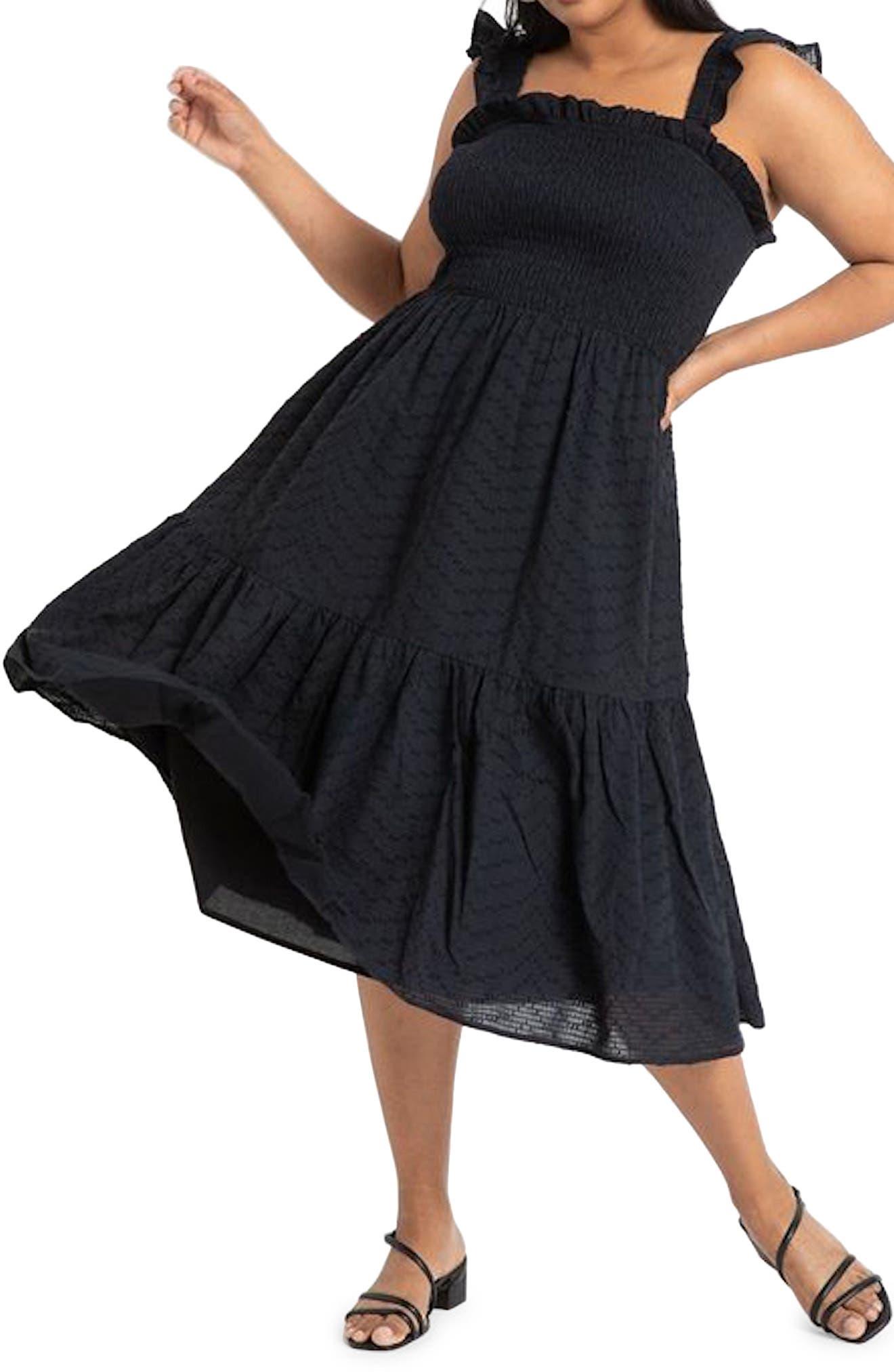 Sleeveless Smocked Ruffle Dress