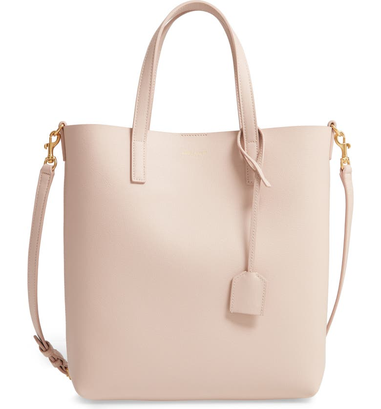 SAINT LAURENT Toy North/South Leather Tote, Main, color, MARBLE PINK