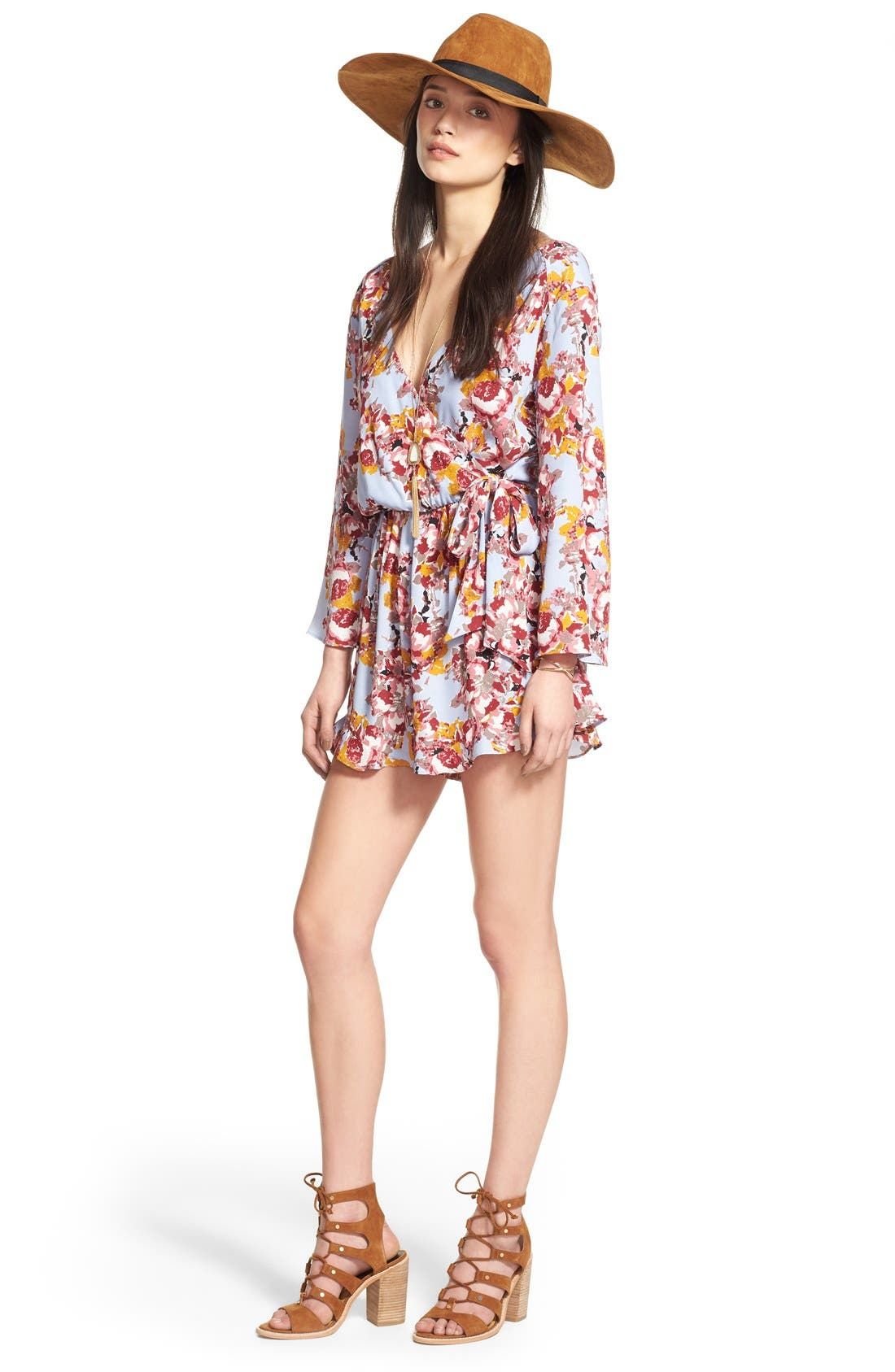 ,                             ASTR Floral Surplice Romper,                             Alternate thumbnail 10, color,                             400