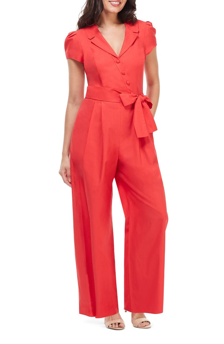 GAL MEETS GLAM COLLECTION Camille Cotton Jumpsuit, Main, color, 621