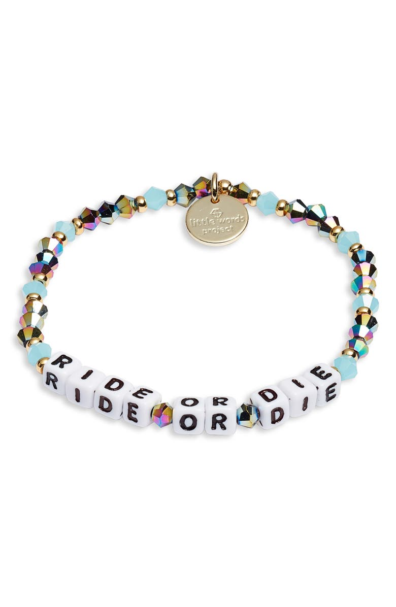 LITTLE WORDS PROJECT Ride or Die Beaded Stretch Bracelet, Main, color, 400
