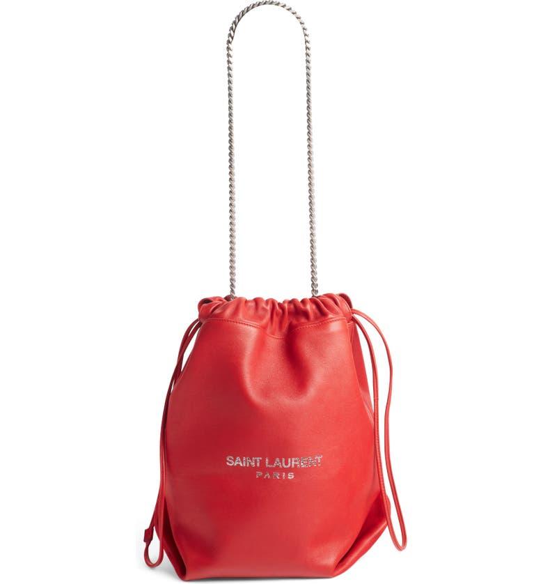 SAINT LAURENT Teddy Leather Bucket Bag, Main, color, ROUGE EROS