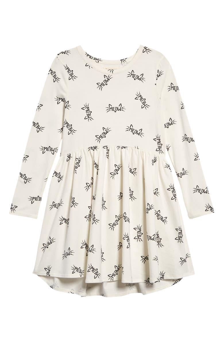 TUCKER + TATE Print Knit Dress, Main, color, IVORY EGRET MEOW