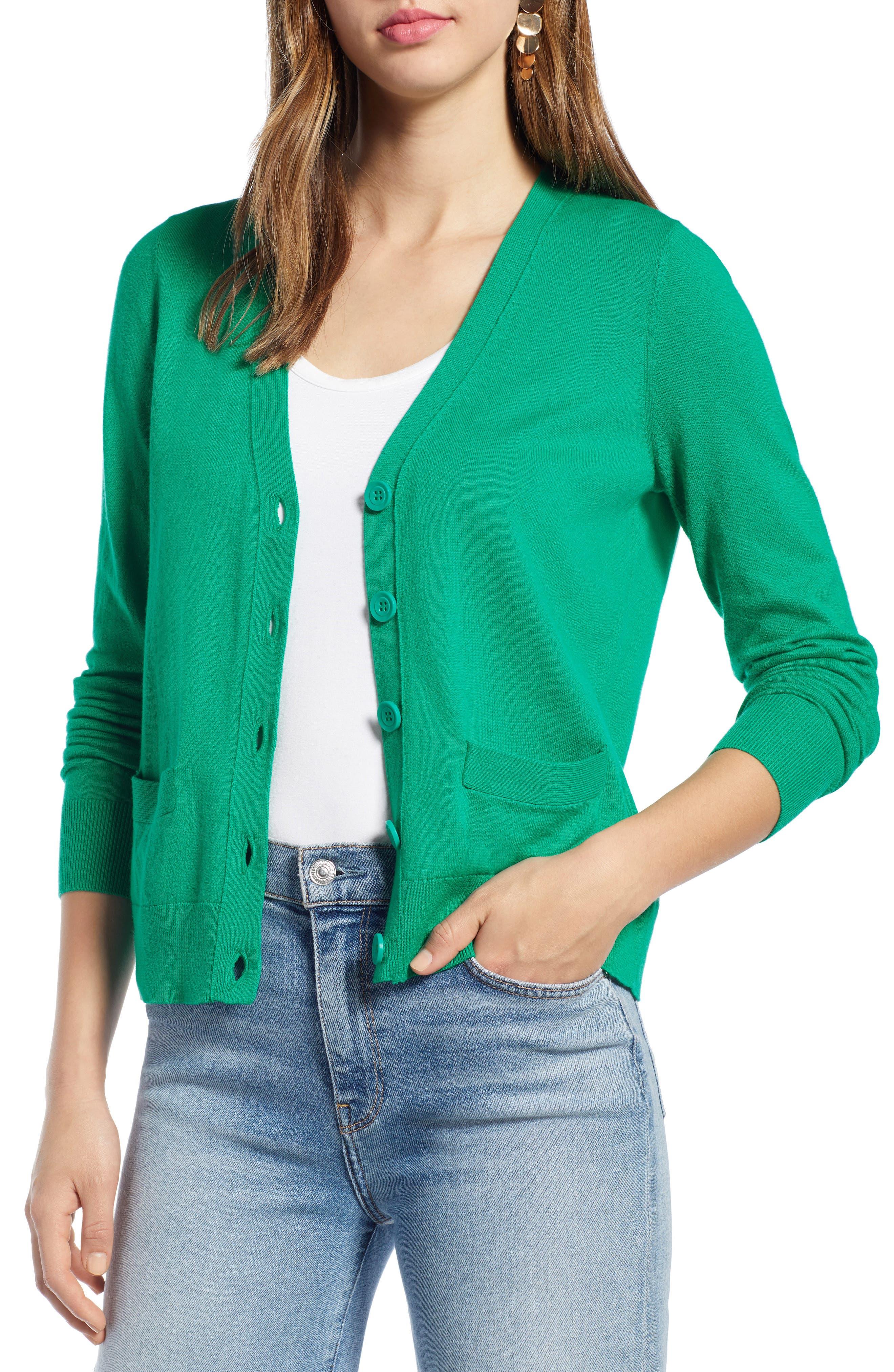 V-Neck Cardigan, Main, color, GREEN PARAKEET