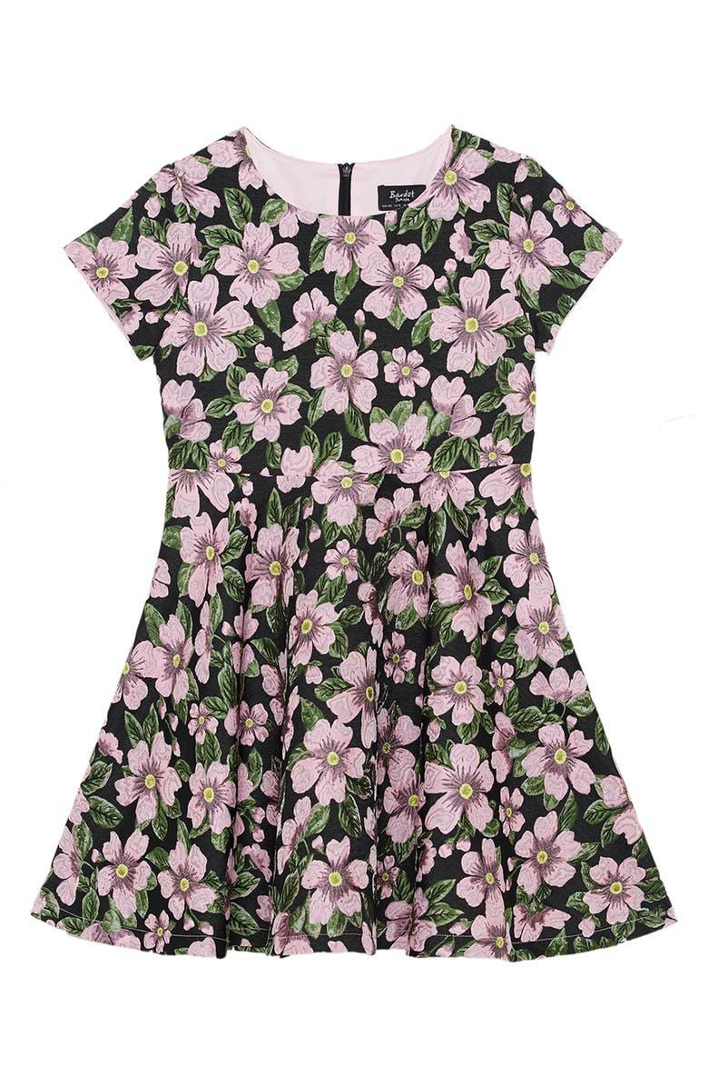 BARDOT Tia Floral Print Party Dress, Main, color, PINK CAMEO