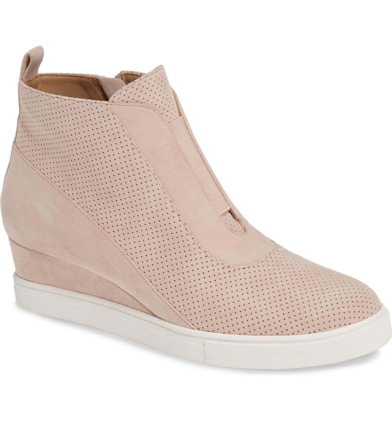 LINEA PAOLO Anna Wedge Sneaker, Main, color, BLUSH PERFORATED SUEDE