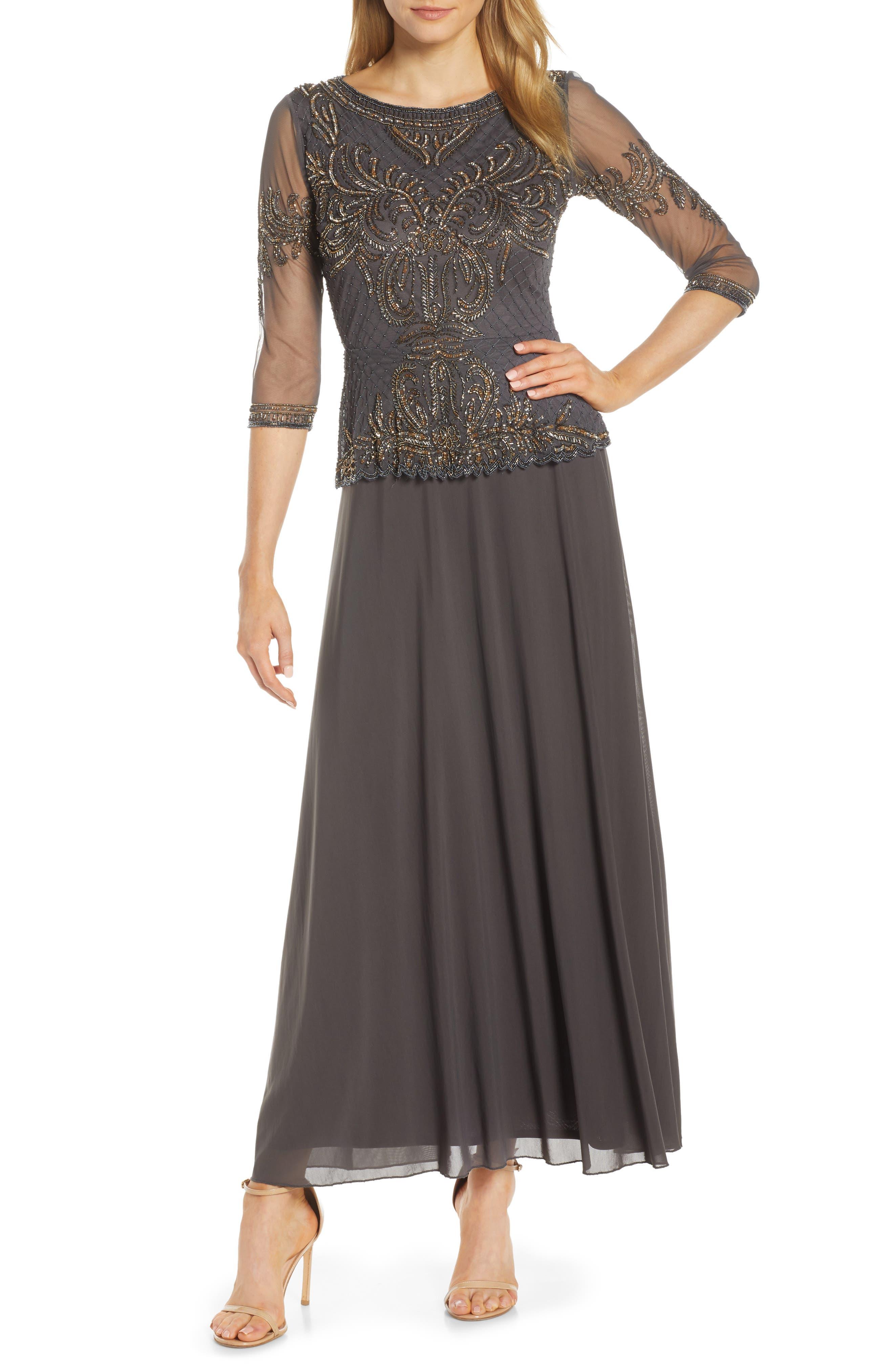 a59f0212809b Pisarro Nights Bead Embellished Gown, Grey