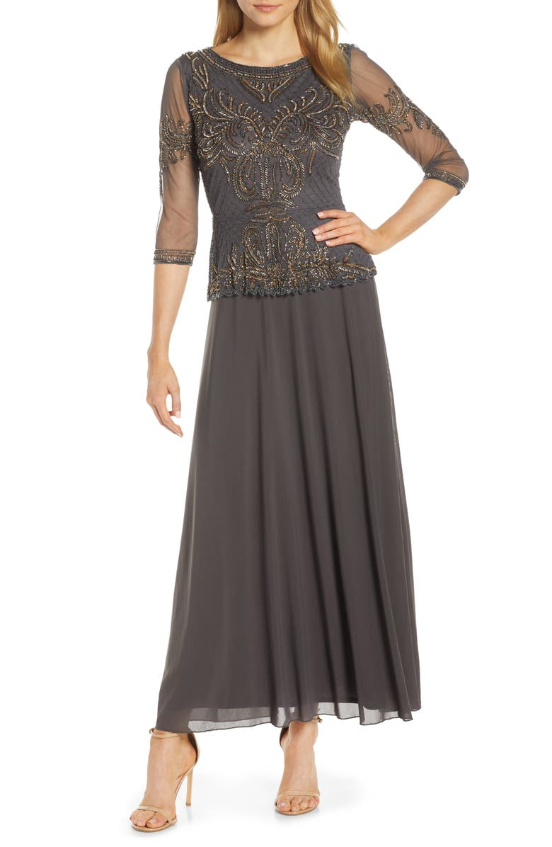 PISARRO NIGHTS Bead Embellished Gown, Main, color, ASH