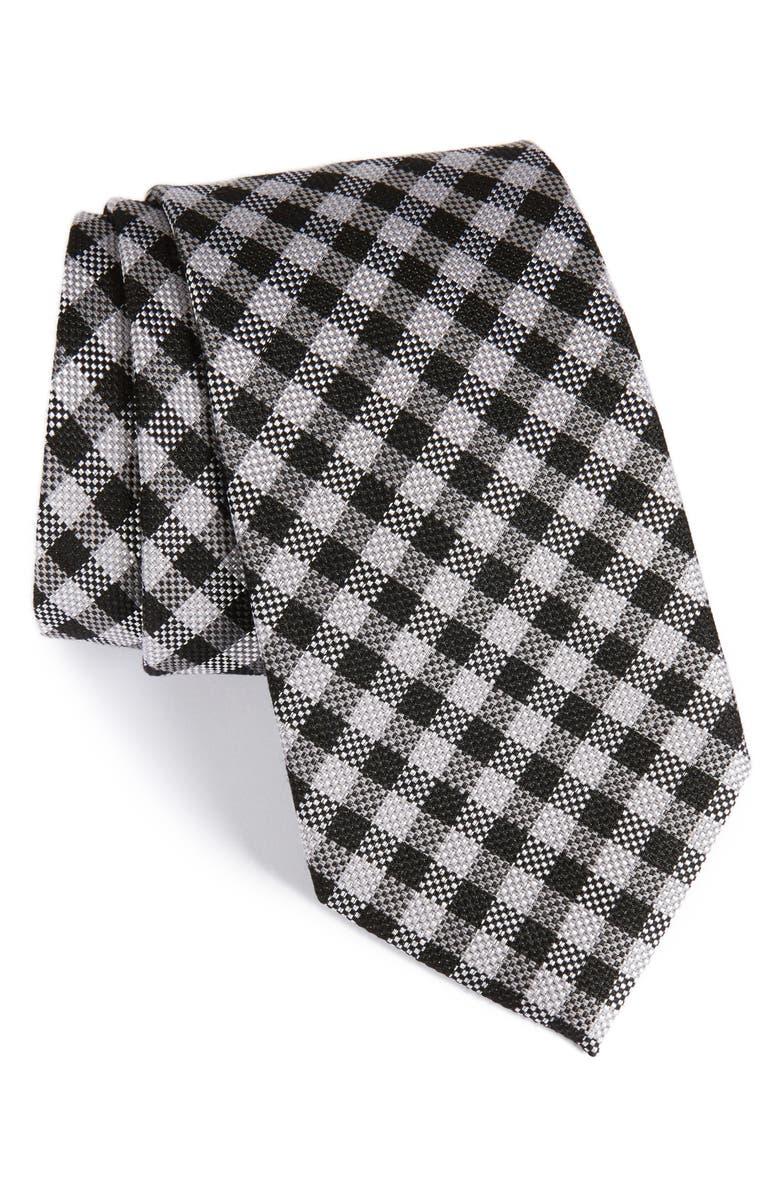 NORDSTROM MEN'S SHOP Check Silk & Wool Tie, Main, color, 001