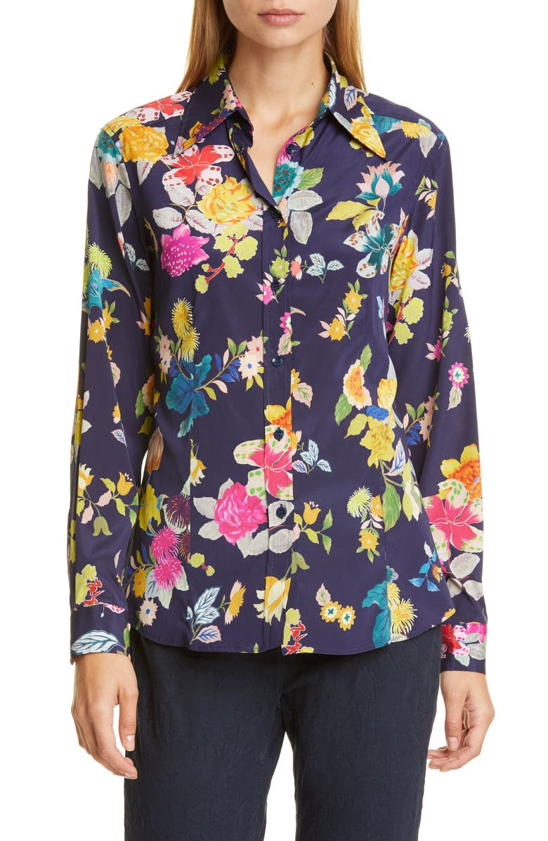 ETRO Floral Print Stretch Silk Shirt, Main, color, NAVY
