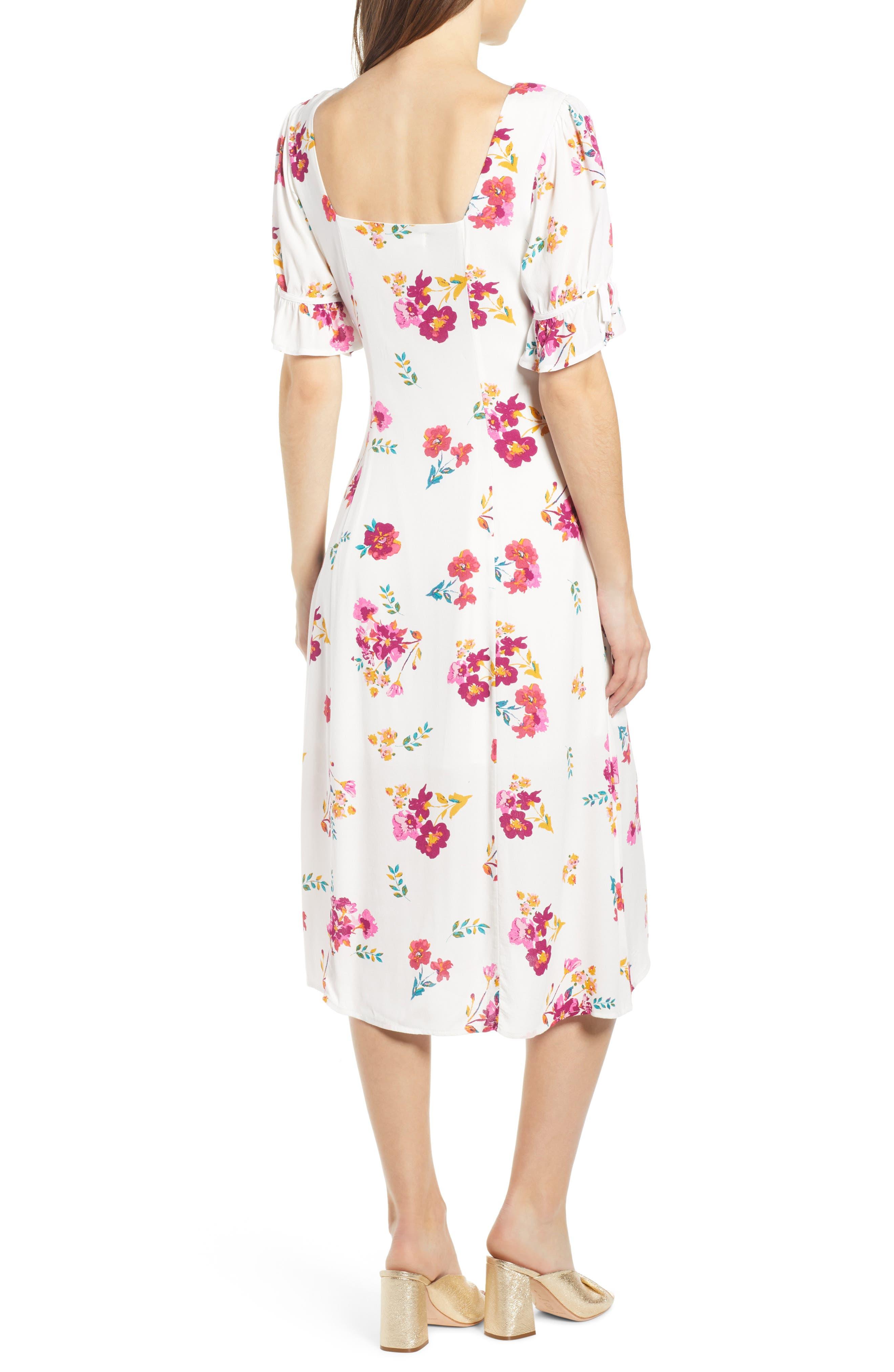 ,                             Floral Print Midi Dress,                             Alternate thumbnail 2, color,                             WHITE MULTI FLORAL