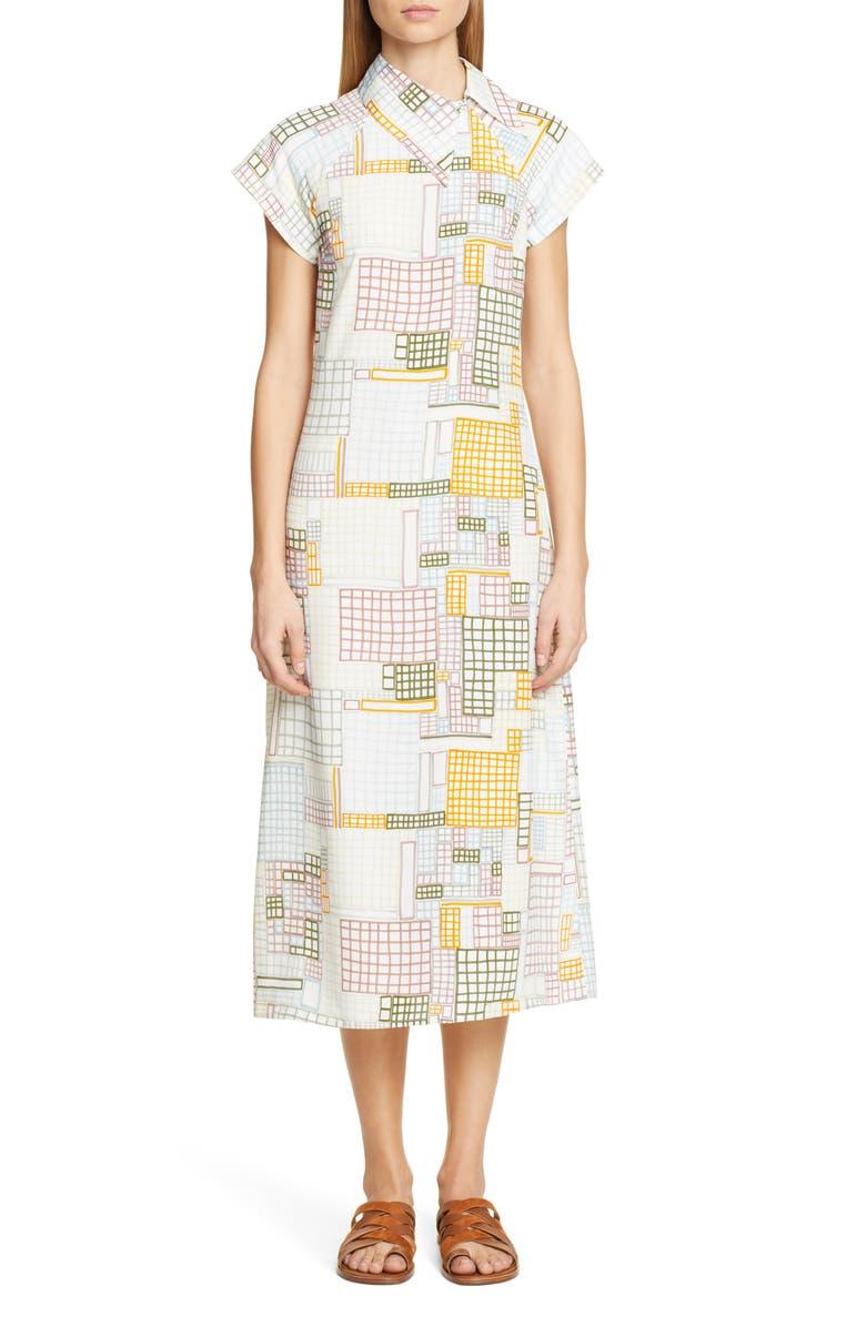 ROSETTA GETTY Grid Print Asymmetrical Shirtdress, Main, color, MUTLI