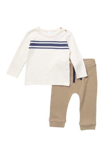 Image of Nordstrom Baby Long Sleeve Stripe Shirt & Waffle Pants Set
