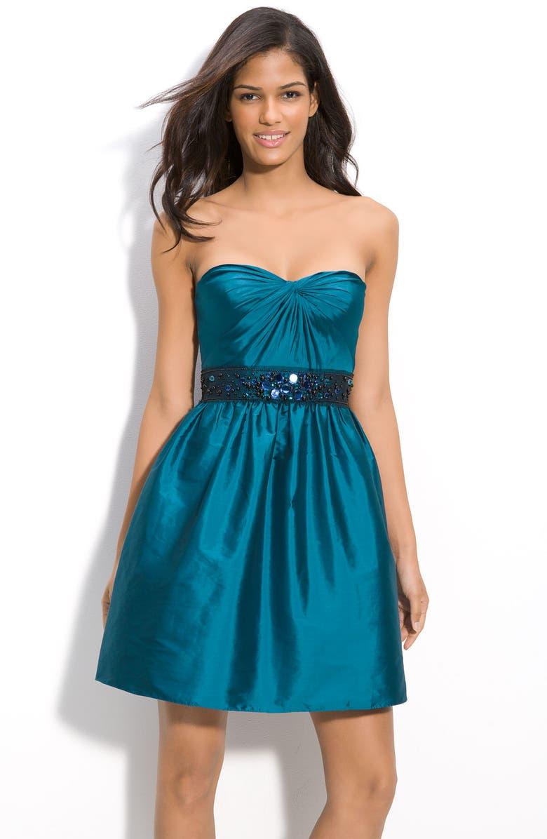 ADRIANNA PAPELL Beaded Strapless Taffeta Party Dress, Main, color, 446