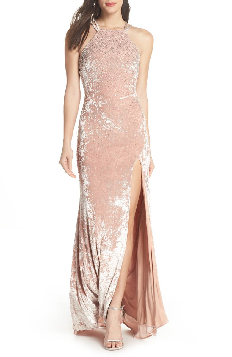 XSCAPE Beaded Crushed Velvet Gown, Main, color, 680