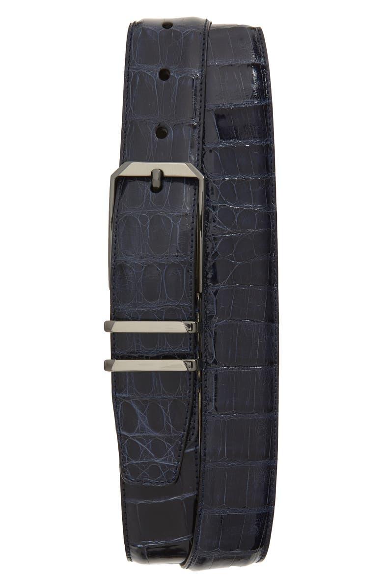 MEZLAN Crocodile Leather Belt, Main, color, BLUE