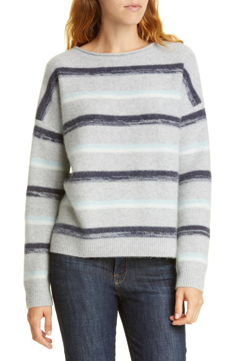 NORDSTROM SIGNATURE Stripe Pullover, Main, color, GREY HEATHER- NAVY SAND STRIPE