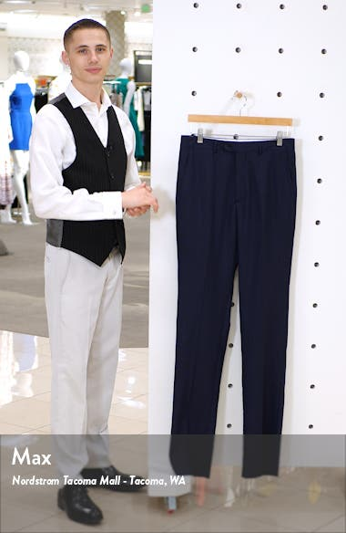 Flat Front Stretch Solid Wool Trousers, sales video thumbnail