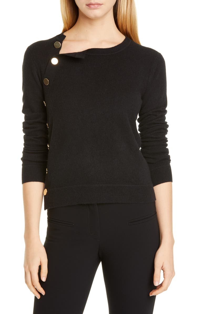 ALTUZARRA Minamoto Side Button Cashmere Sweater, Main, color, 000001 BLACK