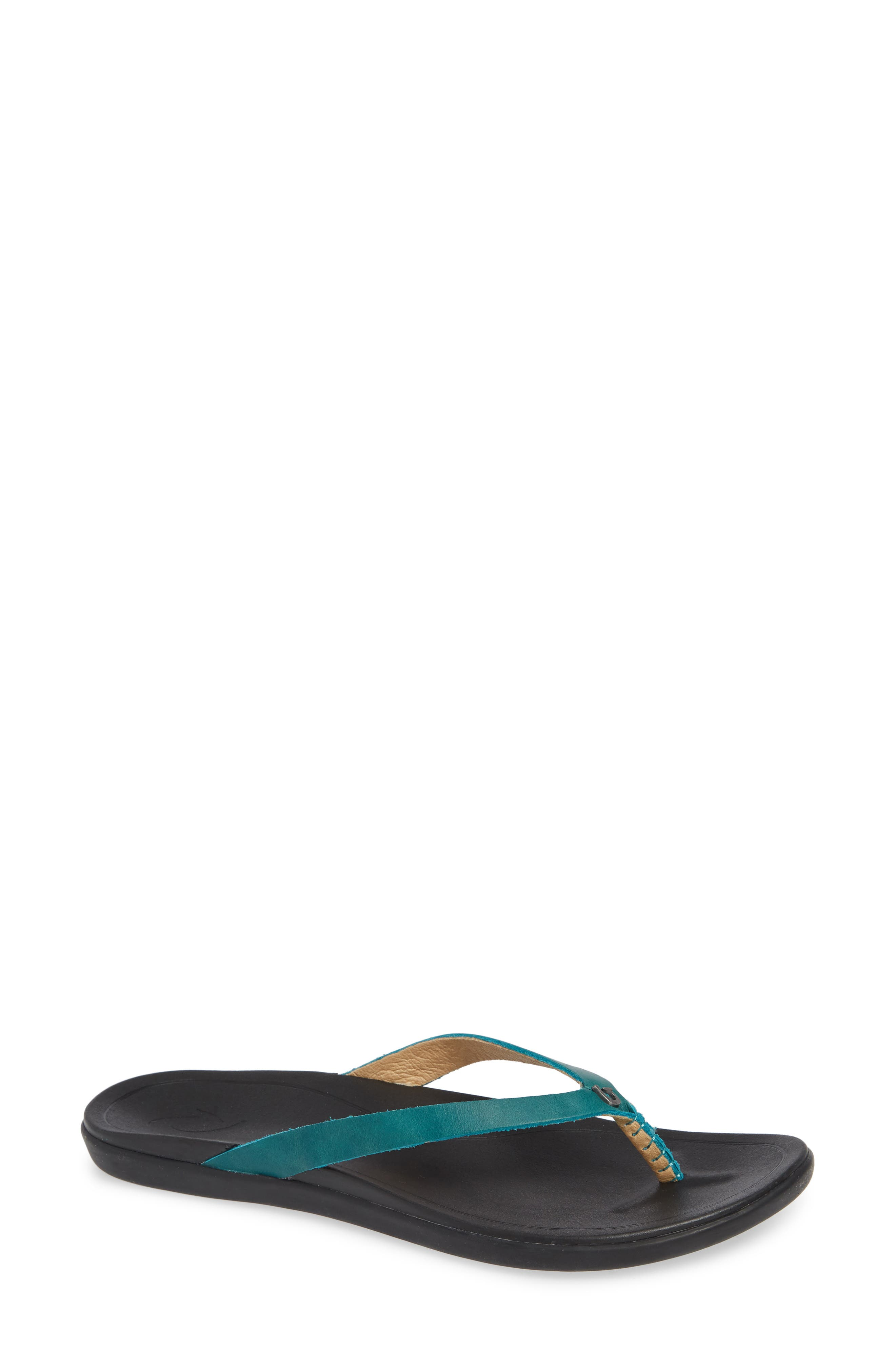 A full-grain leather flip-flop is crafted with a slender silhouette, while the anatomical insole provides all-day comfort and support. Style Name: Olukai \\\'Ho Opio\\\' Leather Flip Flop (Women). Style Number: 5085181. Available in stores.