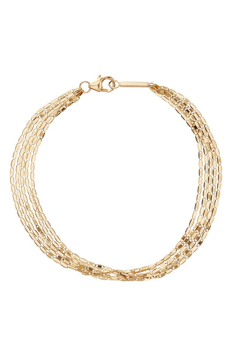 LANA JEWELRY Malibu Five Strand Chain Bracelet, Main, color, YELLOW GOLD