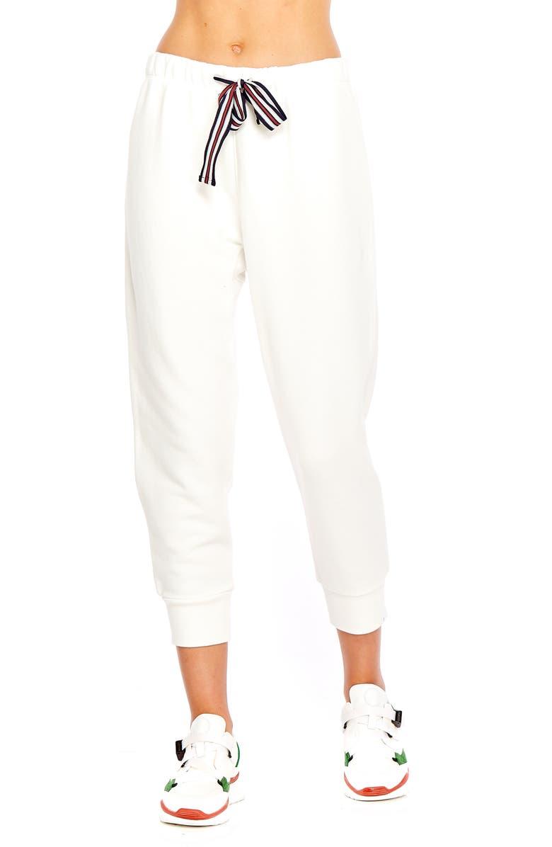 THE UPSIDE Captain Crop Jogger Pants, Main, color, WHITE