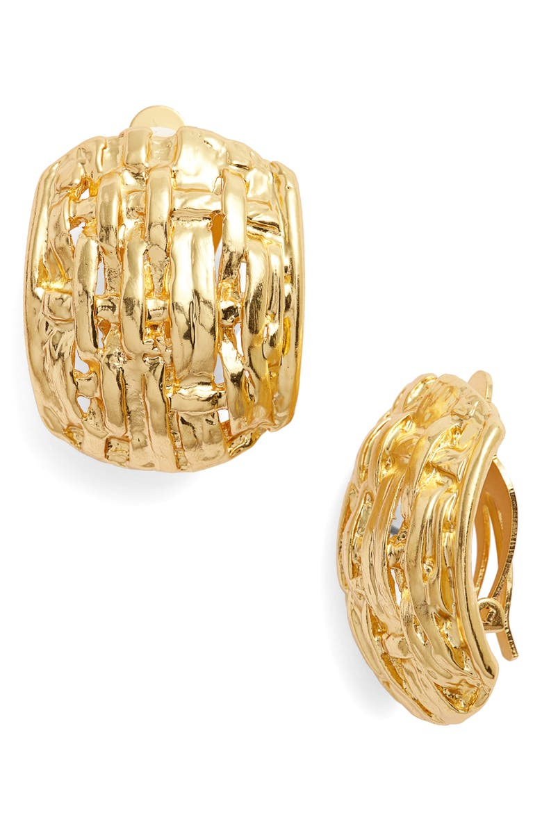 KARINE SULTAN Grace Clip Earrings, Main, color, GOLD