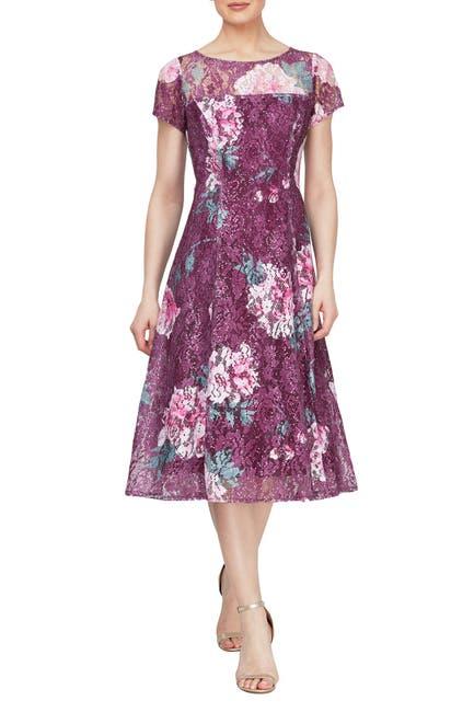 Image of SLNY Floral Sequined Cap Sleeve Midi Dress
