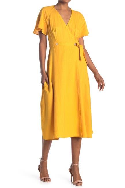 Image of Donna Morgan Short Flutter Sleeve Linen Midi Dress
