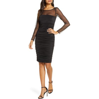 Eliza J Ruched Long Sleeve Illusion Mesh Cocktail Dress, Black