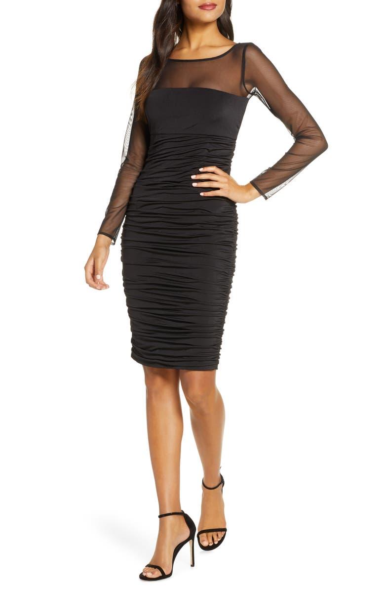 ELIZA J Ruched Long Sleeve Illusion Mesh Cocktail Dress, Main, color, BLACK