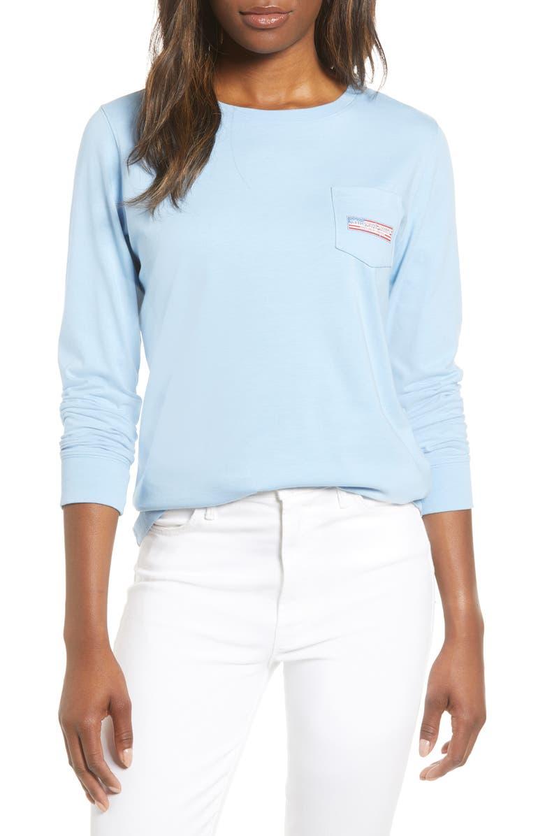 VINEYARD VINES USA Logo Long Sleeve Pocket Tee, Main, color, JAKE BLUE