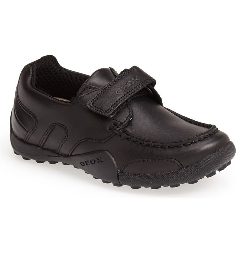GEOX 'Snake Moc 2' Leather Loafer, Main, color, BLACK