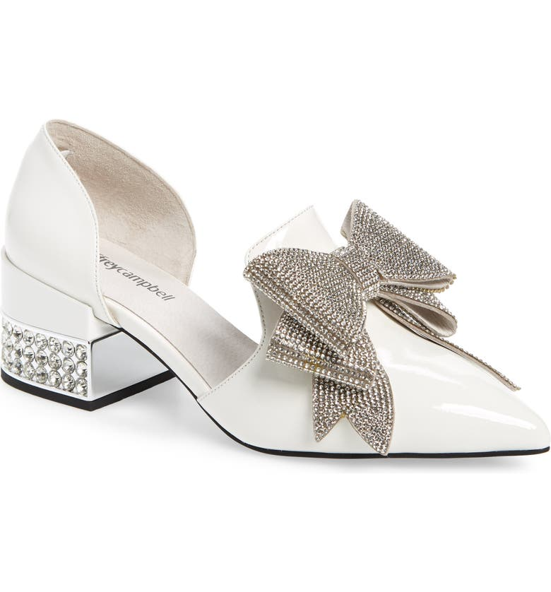 JEFFREY CAMPBELL Valenti Embellished Bow Loafer, Main, color, WHITE PATENT LEATHER/ SILVER