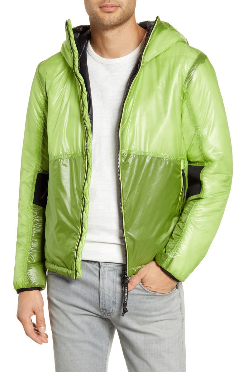 C.P. COMPANY Outline Weatherproof Hooded Goggle Jacket, Main, color, LIME GREEN 602
