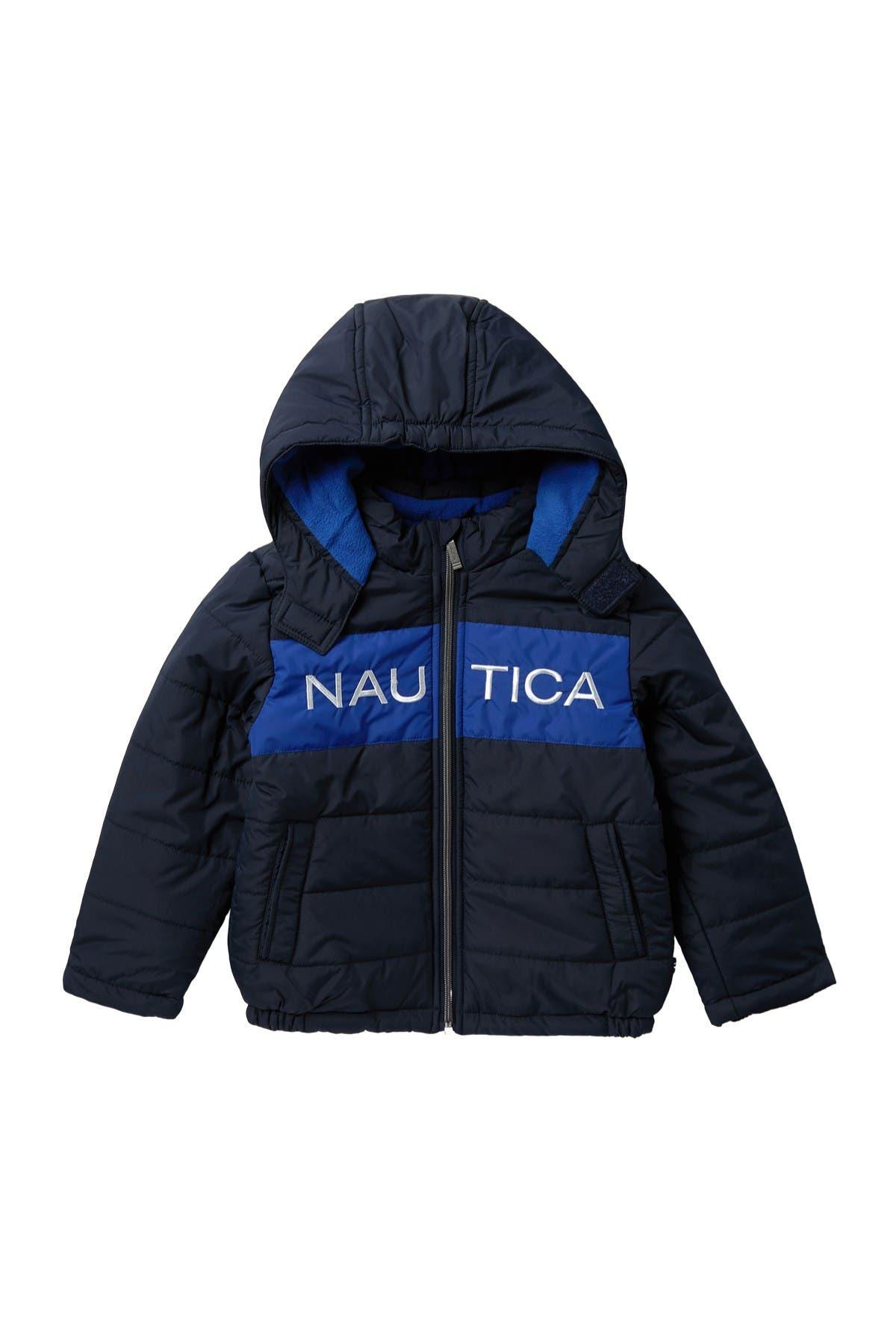 Nautica Boys Fleece Lined Hooded Bubble Jacket