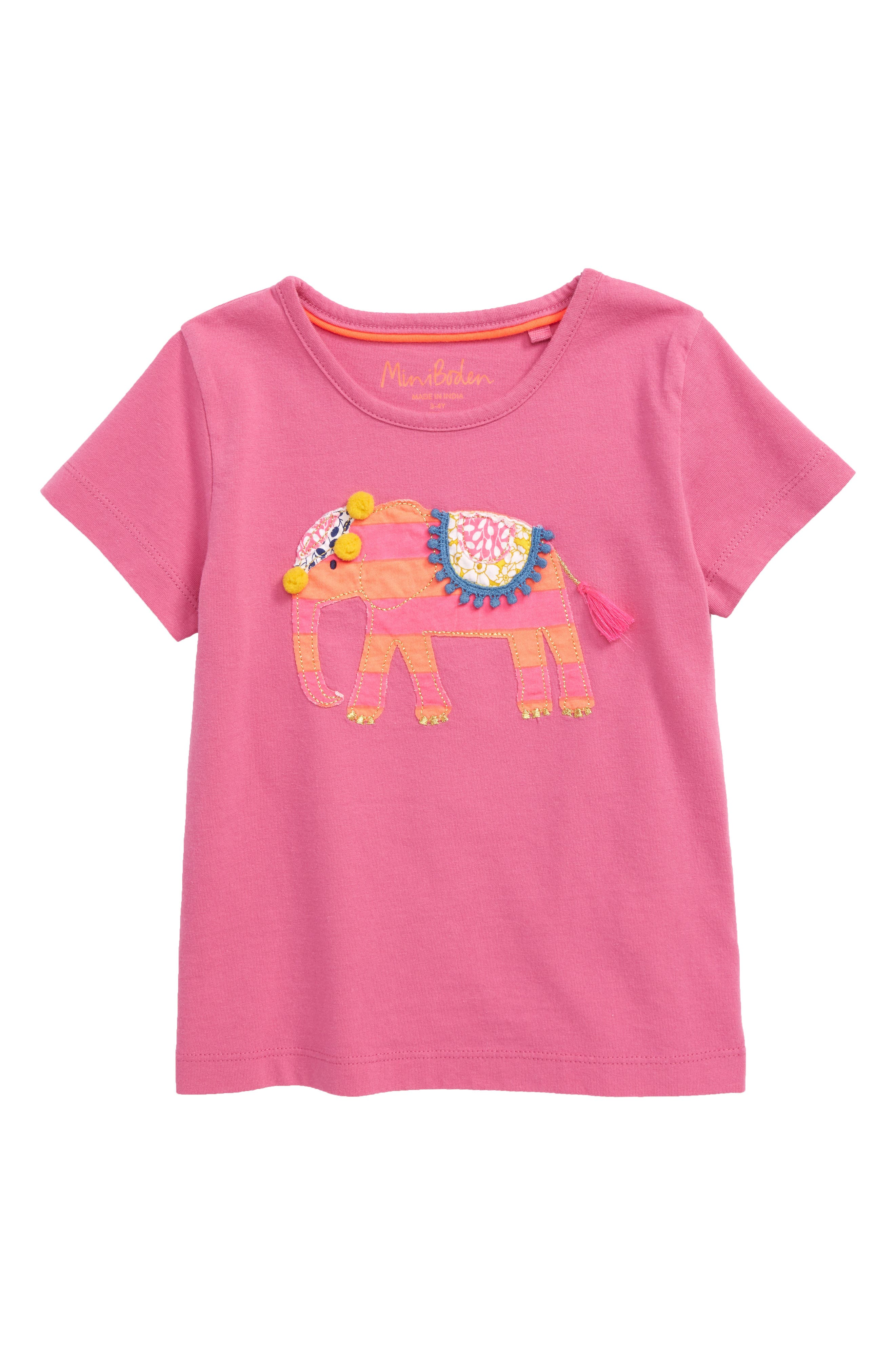 ,                             Animal Big Appliqué Tee,                             Main thumbnail 1, color,                             PNK TICKLED PINK ELEPHANT