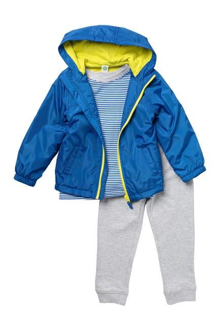 Image of Little Me Windbreaker Jacket, Tee, & Joggers 3-Piece Set