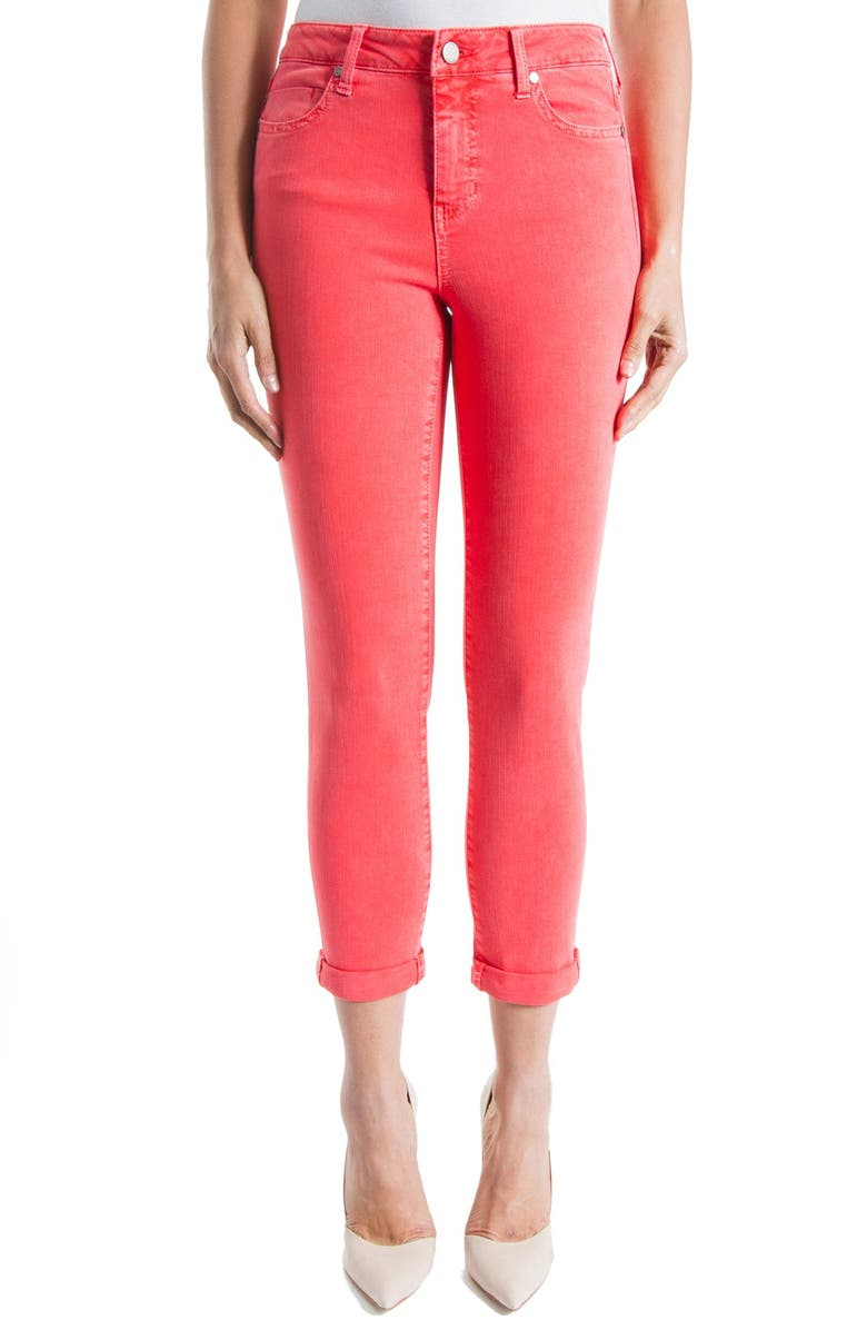 LIVERPOOL Cami Roll Cuff Crop Stretch Twill Pants, Main, color, 957