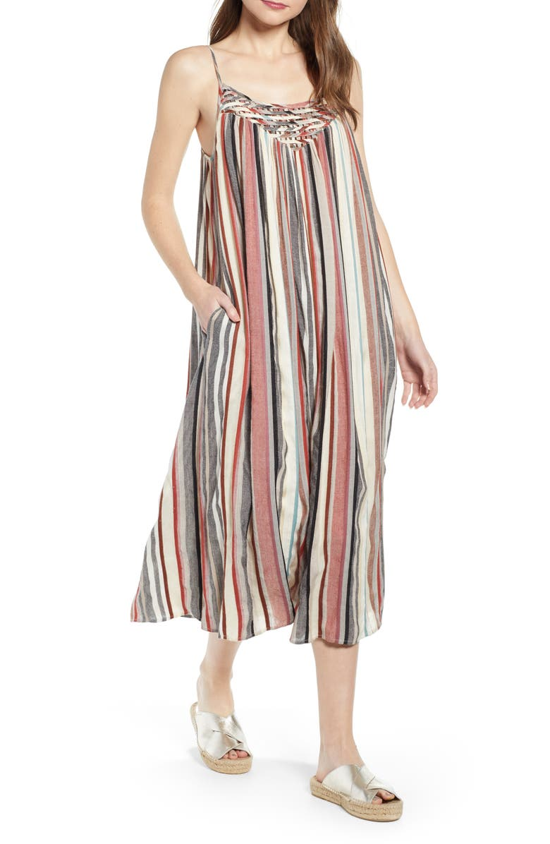 THE ODELLS Vertical Stripe Lattice Yoke Dress, Main, color, PUGLIA