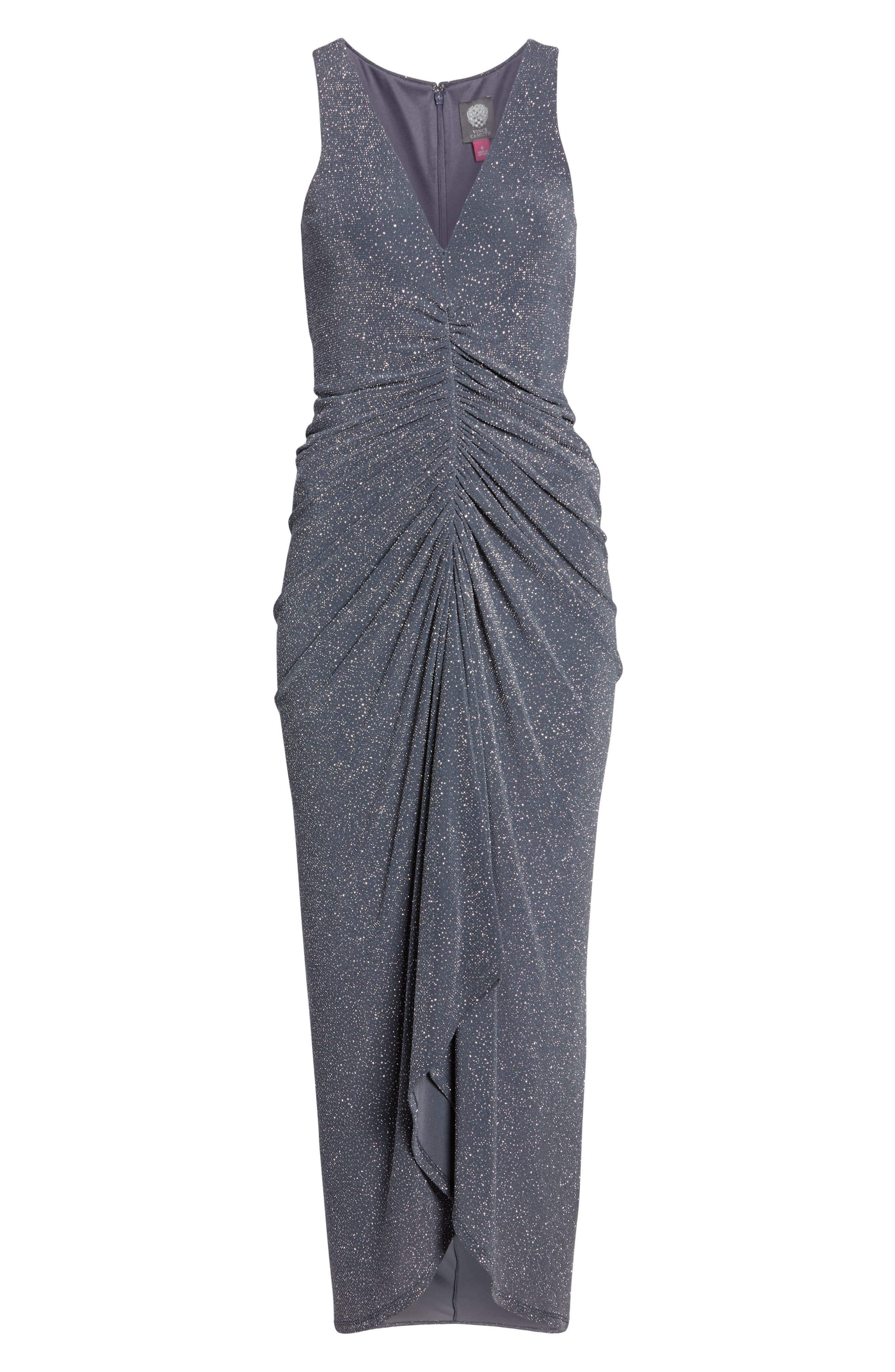 ,                             Ruched Glitter Knit Gown,                             Alternate thumbnail 7, color,                             STEEL