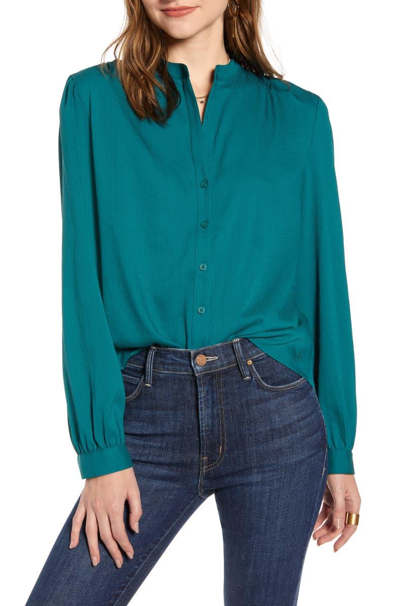 TREASURE & BOND Tonal Stripe Long Sleeve Button-Up Shirt, Main, color, GREEN BERRY