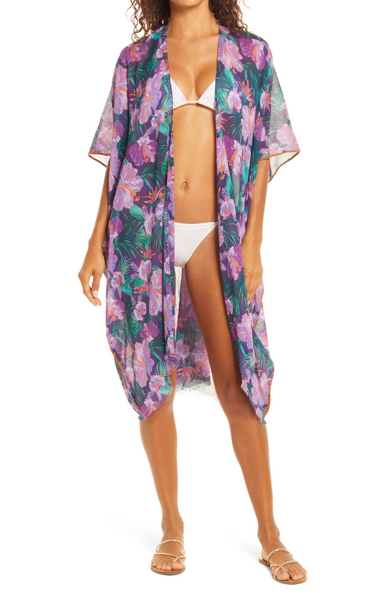 POOL TO PARTY Lorelei Open Front Cover Up, Main, color, PURPLE